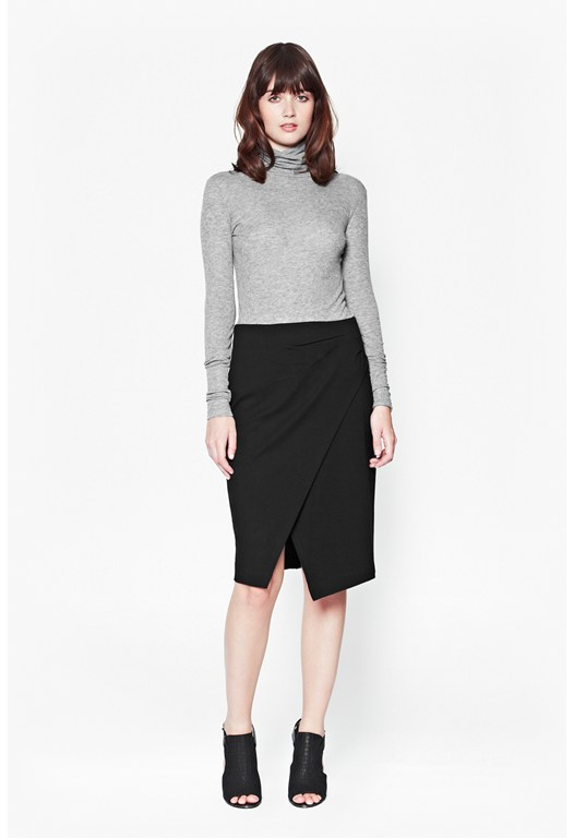 Rebecca Jersey Wrap Front Pencil Skirt