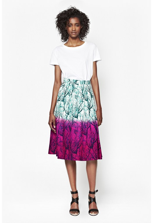 Sea Fern Flared Poplin Skirt