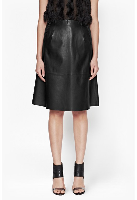 Rocker A-Line Leather Skirt