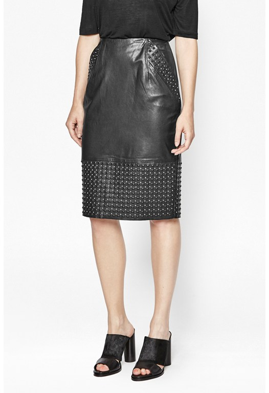 Chaos Leather Studded Skirt
