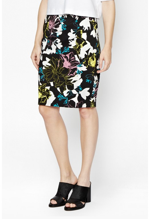 Botanical Trip Stretch Pencil Skirt