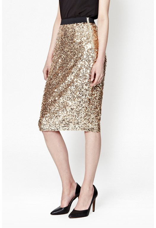 Lunar Sparkle Sequin Pencil Skirt