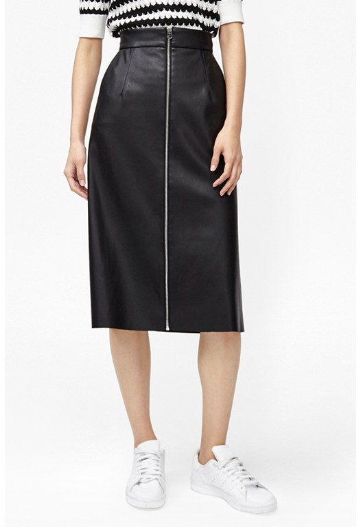 Atlantic Faux Leather Midi Skirt