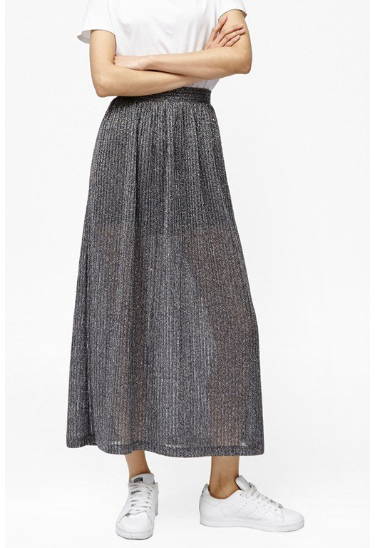 Flicker Rib Metallic Maxi Skirt