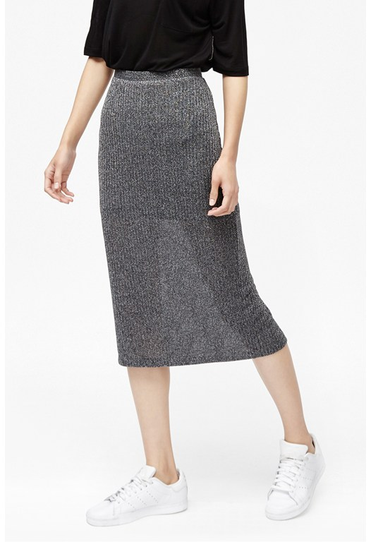 Flicker Rib Metallic Midi Skirt