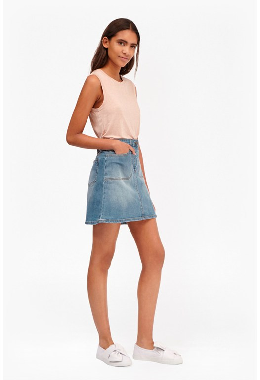 Tiffany Denim Button Through Skirt