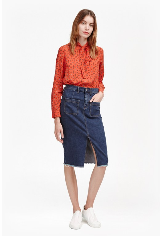 Poppy Denim Frayed Pencil Skirt