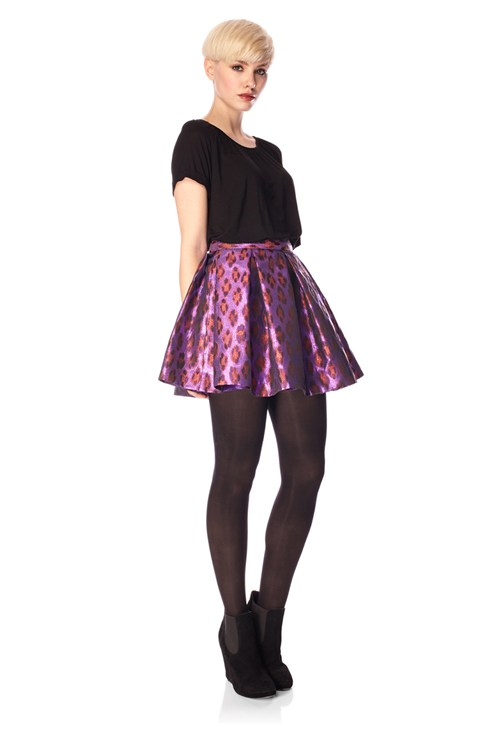 Disco Leopard Flared Skirt