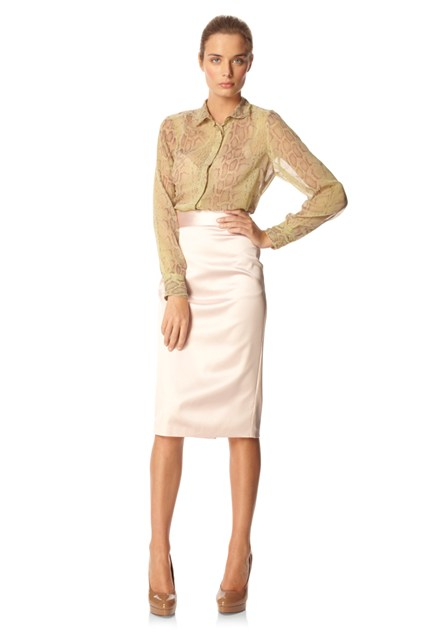 Marion Satin Pencil Skirt