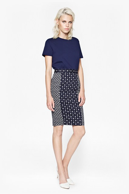Modern Mosaic Pencil Skirt