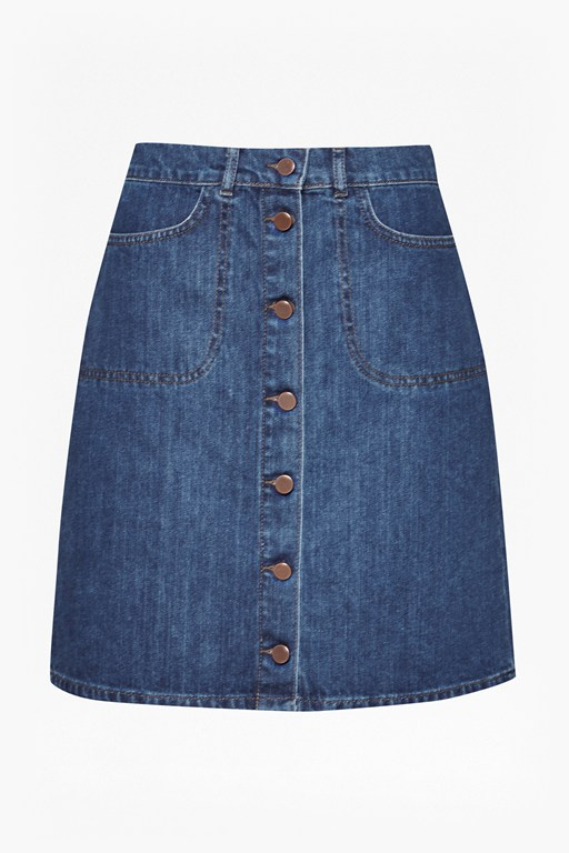 mia denim button through skirt