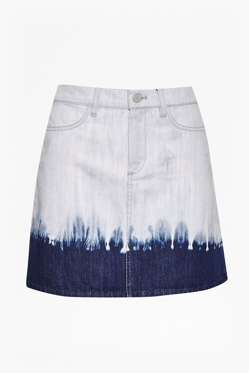 tie dye hem mini skirt