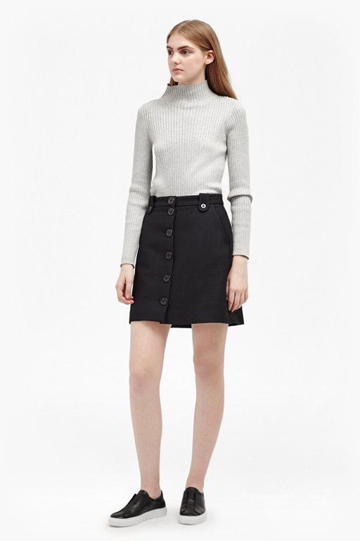 flight twill button through skirt
