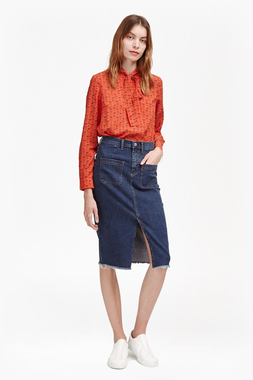 Complete the Look Poppy Denim Frayed Pencil Skirt