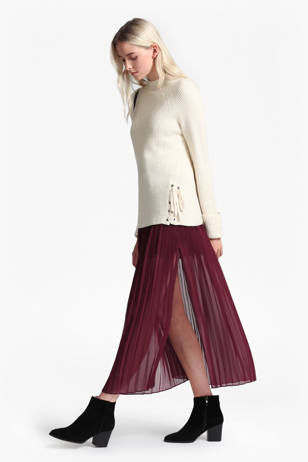 cooper sheer pleated maxi skirt skirts shorts