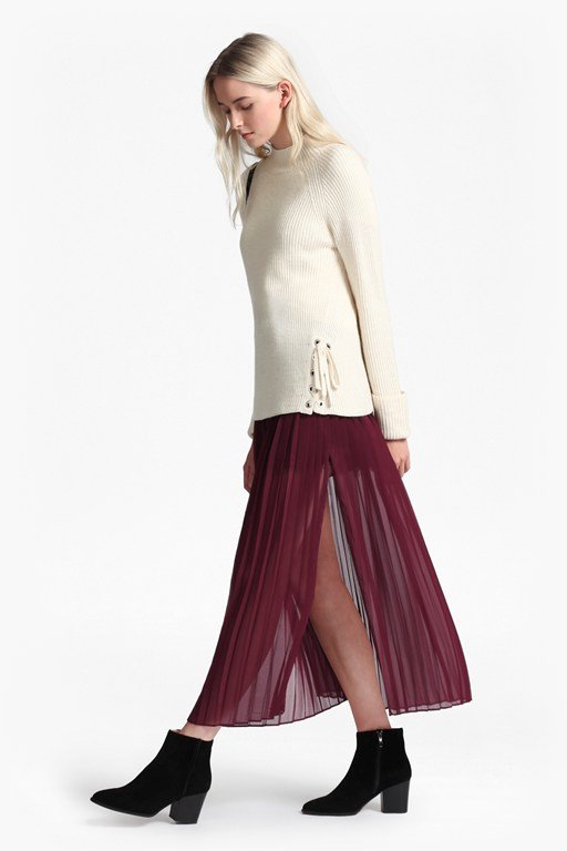 cooper sheer pleated maxi skirt
