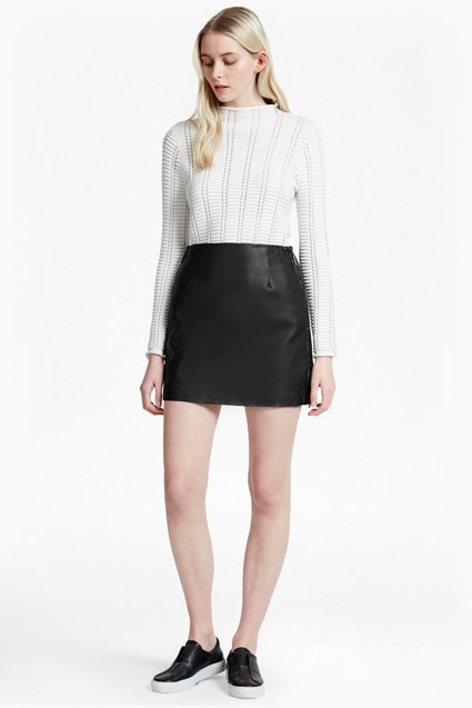 Canterbury Faux Leather Zip Skirt