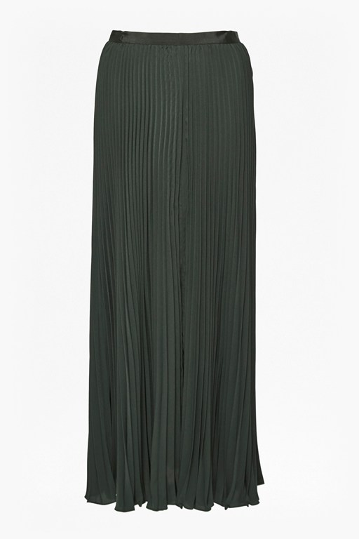classic crepe pleated maxi skirt