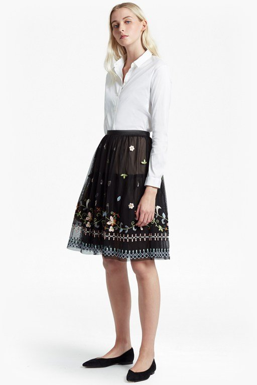 bijou embroidered flared skirt