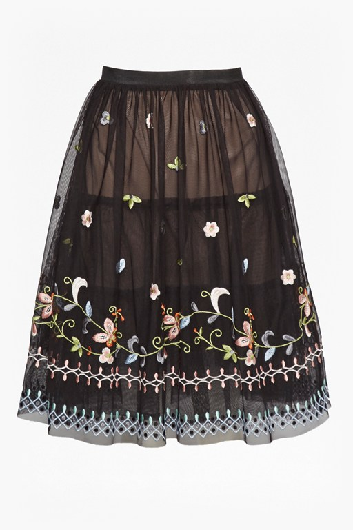 Complete the Look Bijou Embroidered Flared Skirt