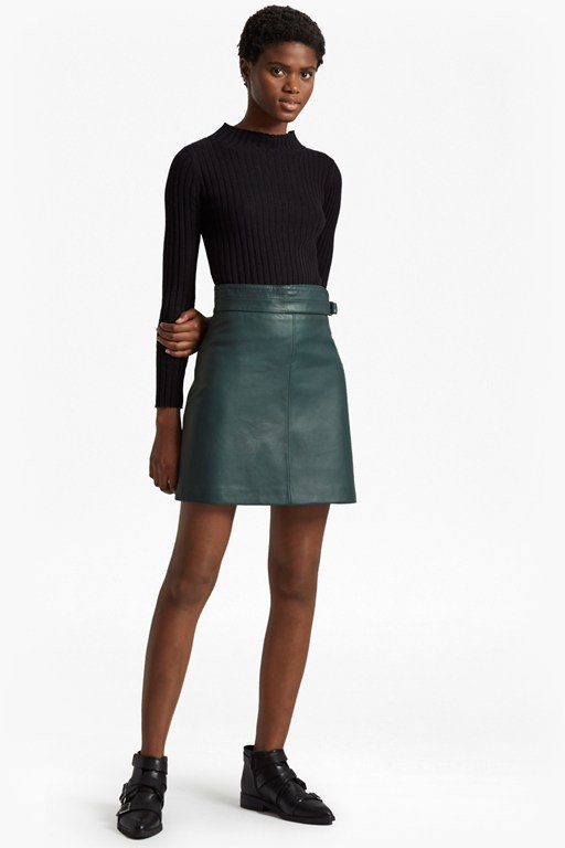 goldenburg leather mini skirt