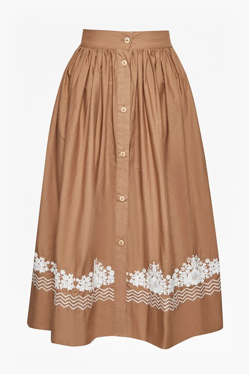 rhodea poplin embroidered basque skirt