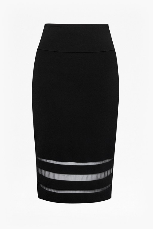 kara crepe mesh insert pencil skirt