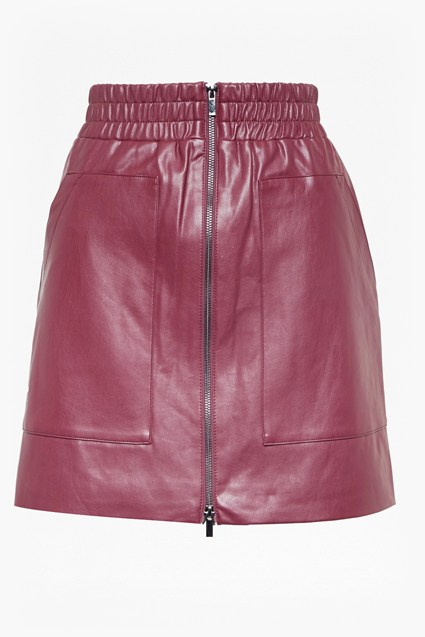 Brishen PU Zip Front Mini Skirt