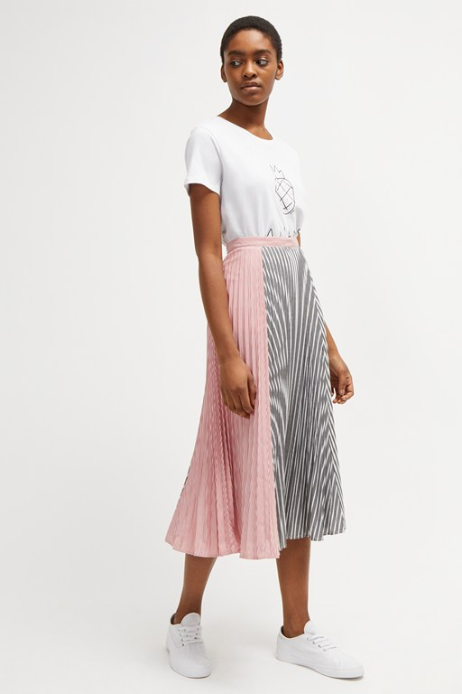 carolie pleated stripe skirt