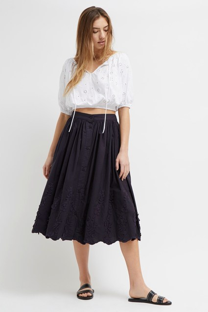 Lupina 3D Flower Button Skirt