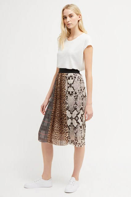 Mixed Animal Pleated Midi Skirt