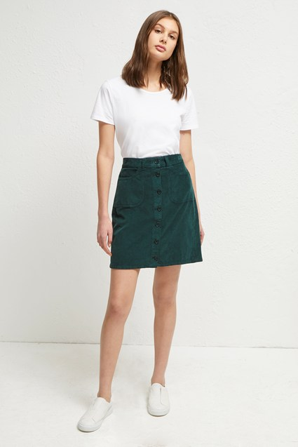 Manzu Cord Button Down Skirt