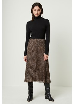Brunella Crinkle Leopard Pleated Midi Skirt