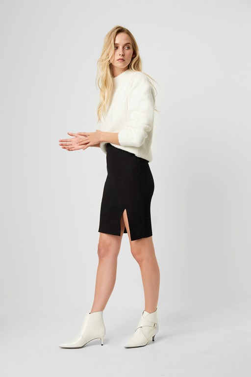 street twill front split skirt