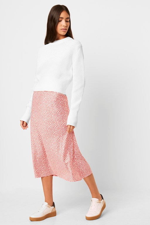 alessia printed satin midi skirt