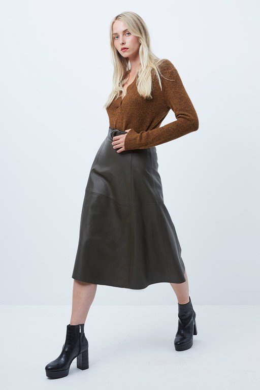 arlan leather midi skirt