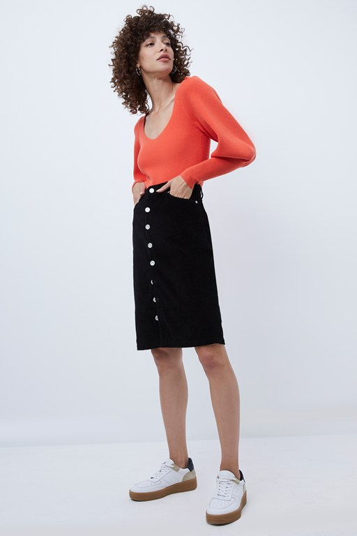 sori jumbo cord button front skirt
