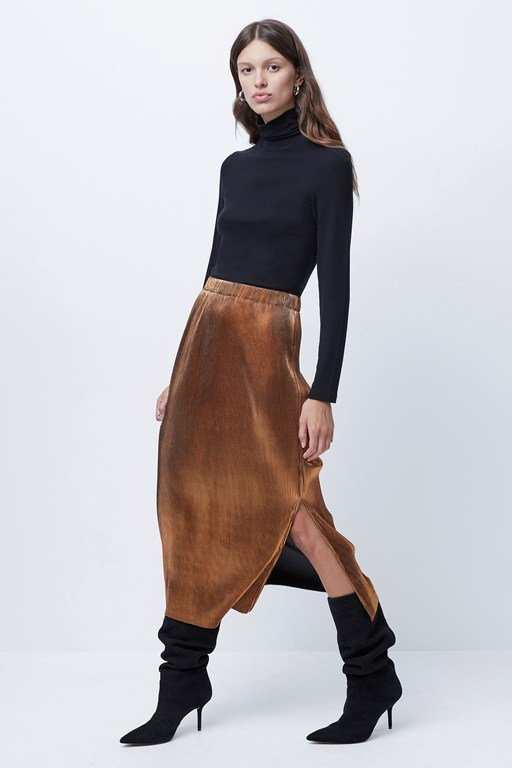 taina metallic plisse pleated skirt