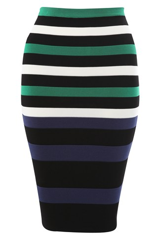 Riley Striped Fitted Skirt