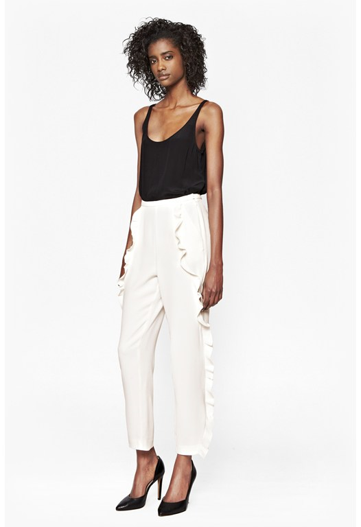 Aro Crepe Frill Detail Trousers