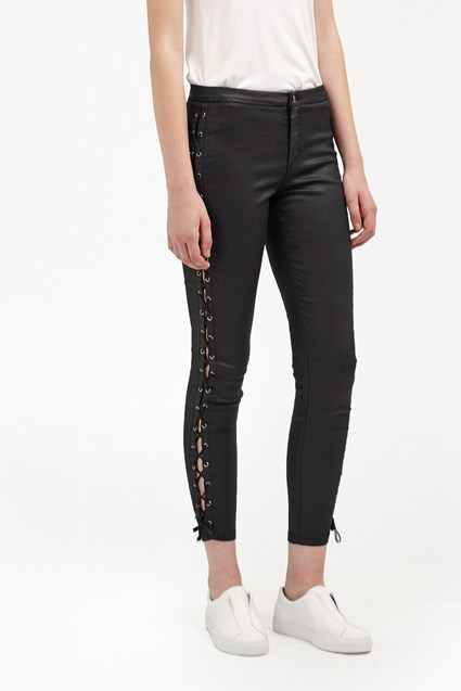 Resin Biker Lace Up Skinny Jeans