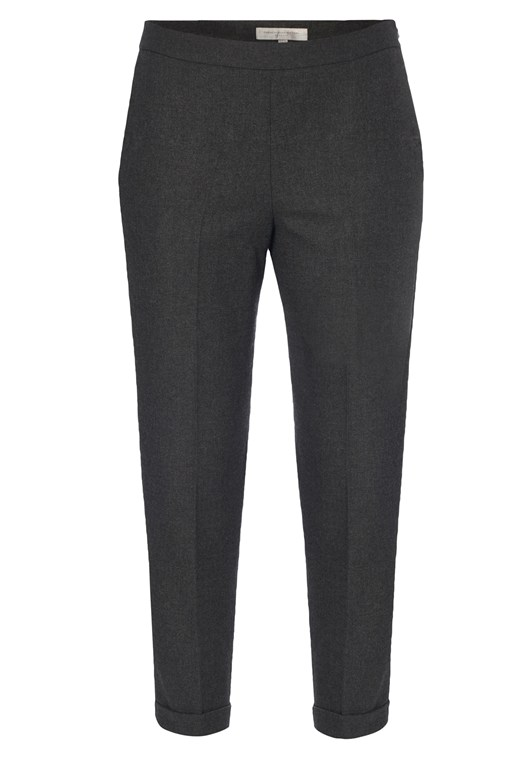 French Connection Cropped Peg Leg Trousers, Grey, Black