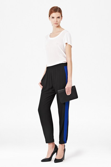 Block Colour Draped Trousers