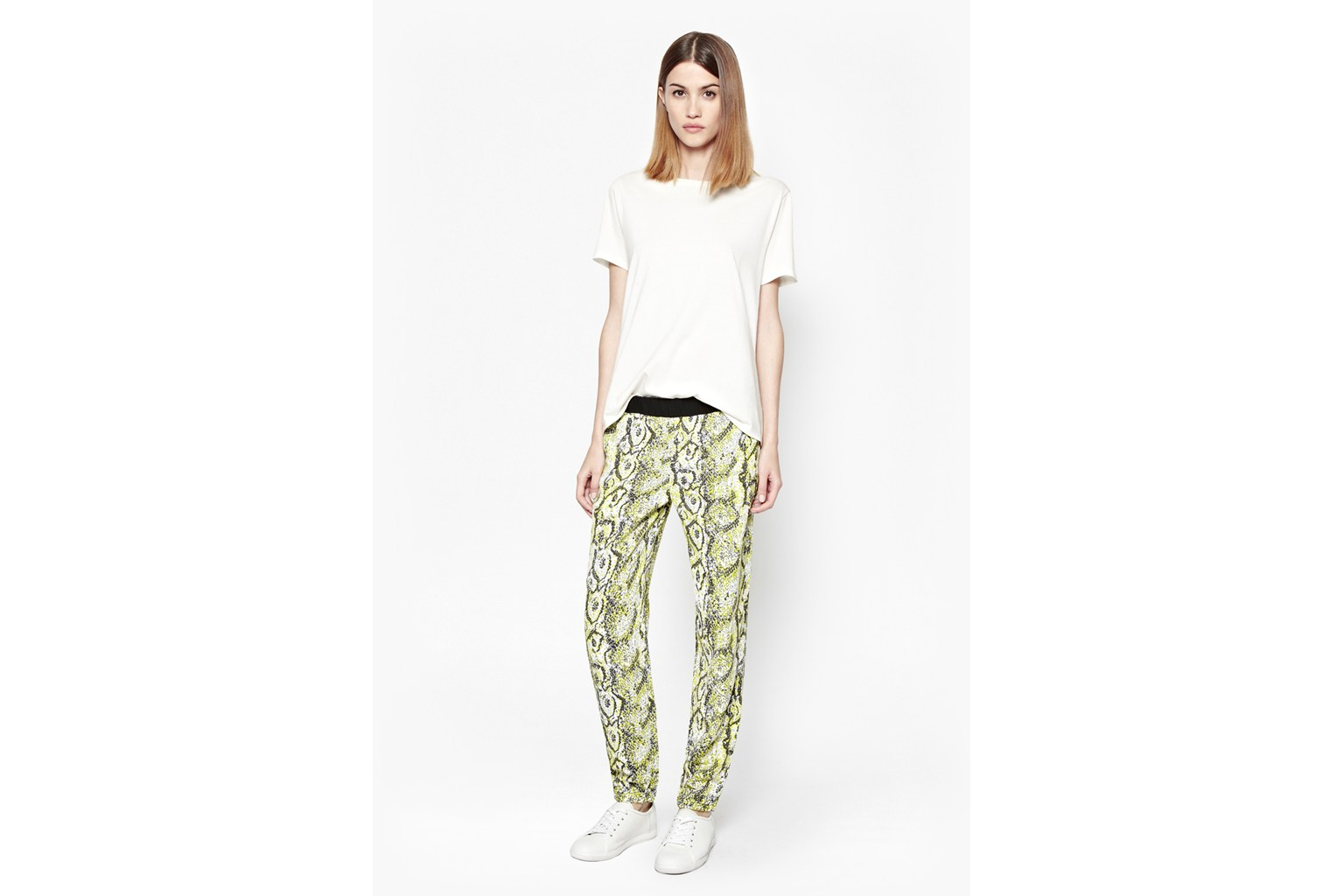 Product photo of Soho boa drape trousers acid blonde multi