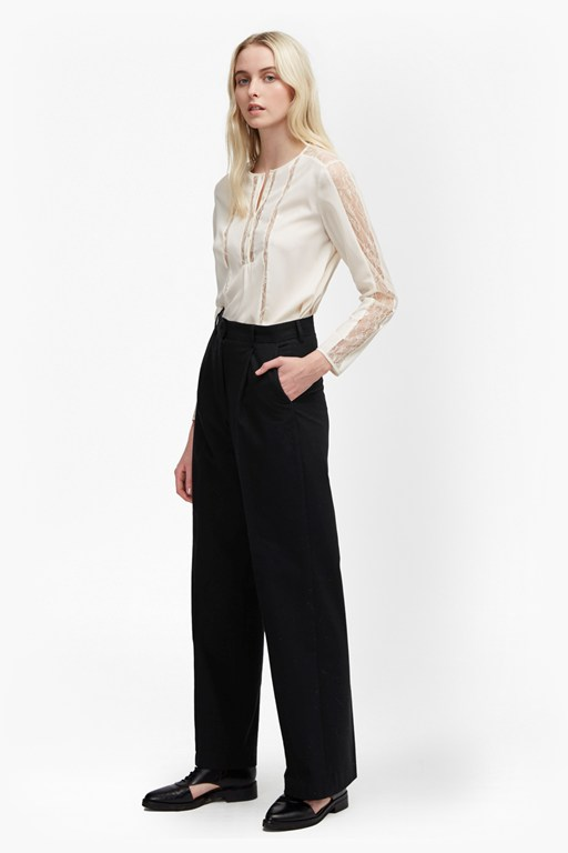 winter flannel wide leg trousers