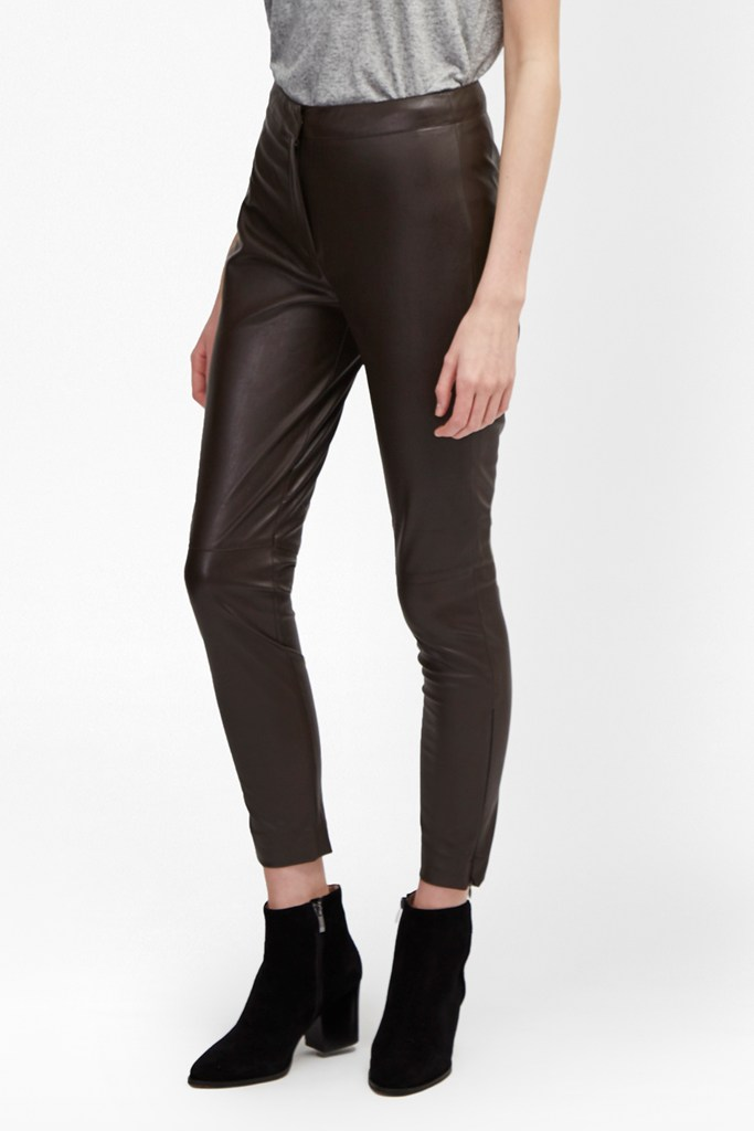 Atlantic Faux Leather Trousers - black coffee