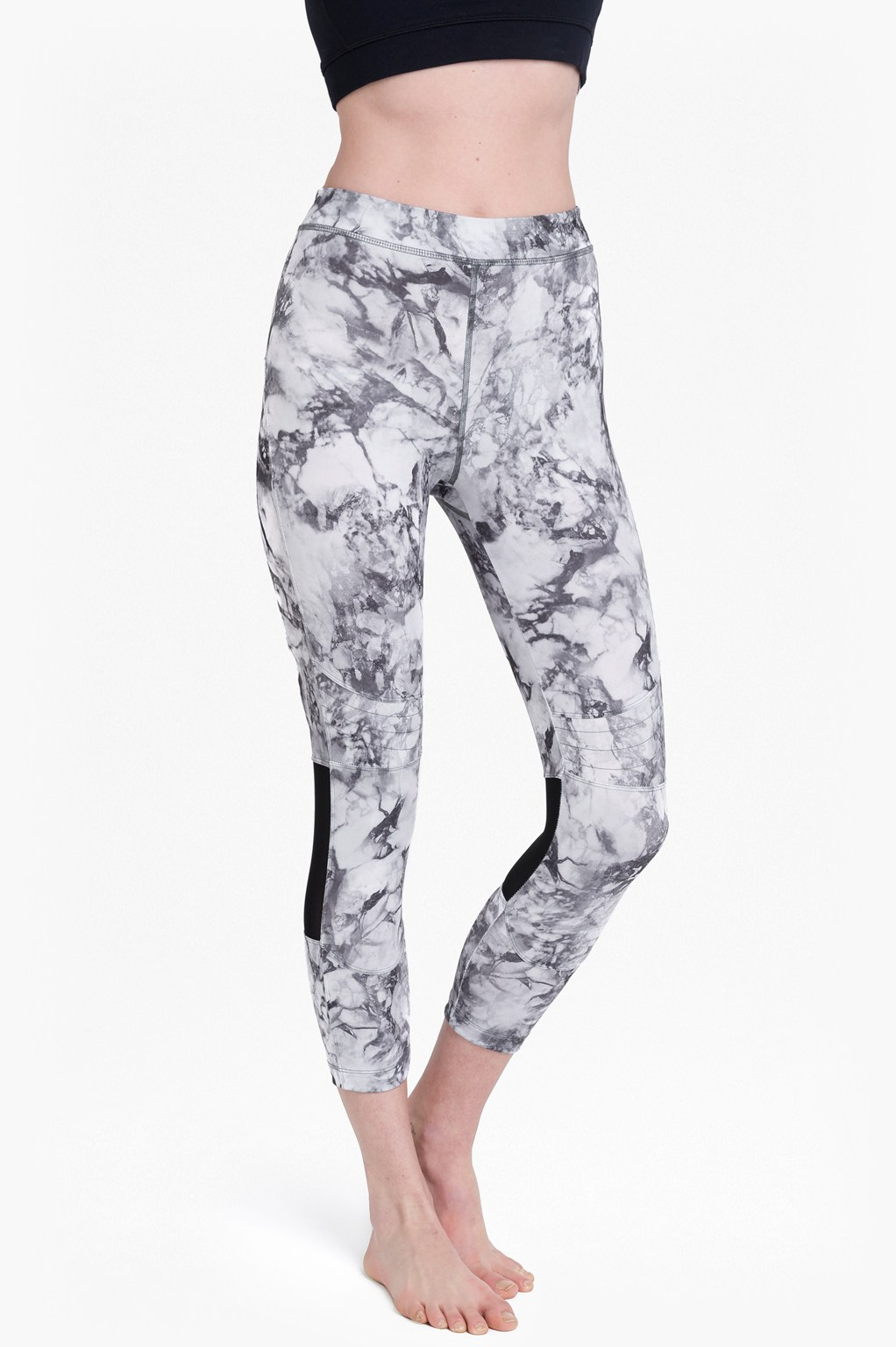 Comfort Stretch Marble Print Cropped Performance Leggings - grey multi marble