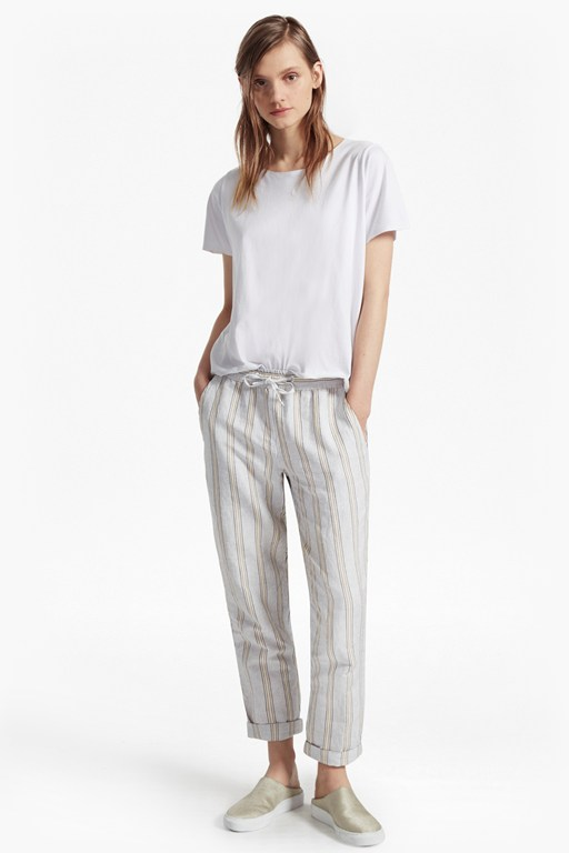 salana striped drawstring linen joggers