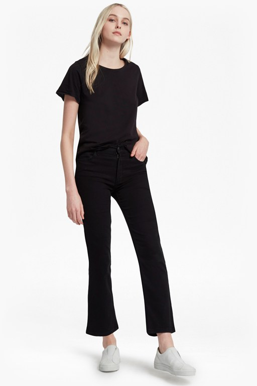 rebound cropped kick flare jeans