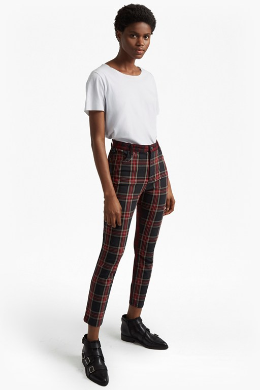 tillie tartan high rise denim skinny jeans